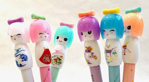 221796 KOKESHI DOLL GEL PEN-AQUA-1 pen