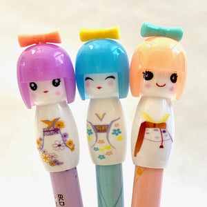 221797 KOKESHI DOLL GEL PEN-WHITE-1 pen