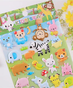 101221 ANIMAL PUFFY STICKERS-4 assorted sheets