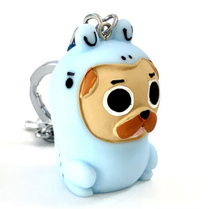 120083 DINO DOG CHARM with keyring-BLUE-1 piece