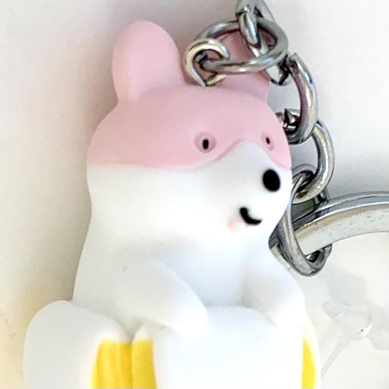 120092 BANANA DOG CHARM with keyring-PINK-1 piece