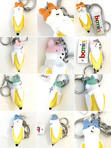 120095 BANANA DOG CHARM with keyring-GREEN-1 piece