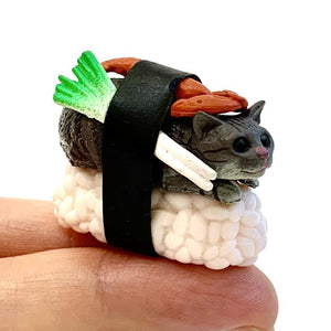 707001 SUSHI CAT FIGURINES-1.75 INCH-5 assorted a set