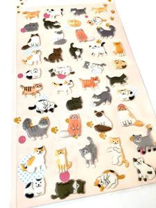 376961 CATS KOREAN PUFFY STICKERS-1 sheet