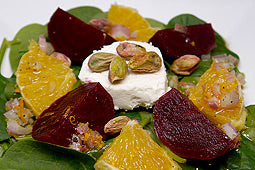 Beets and Oranges Spinach Salad