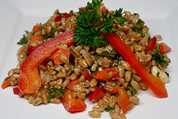 Farro with Red Bell Pepper and Feta