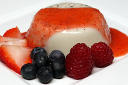 Blueberry Panna Cotta with Strawberry Coulis