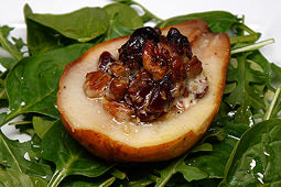 Spinach and Arugula Salad with Roasted Pear