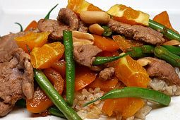 Pork Stir-Fry with Green Beans, Peppers and Oranges