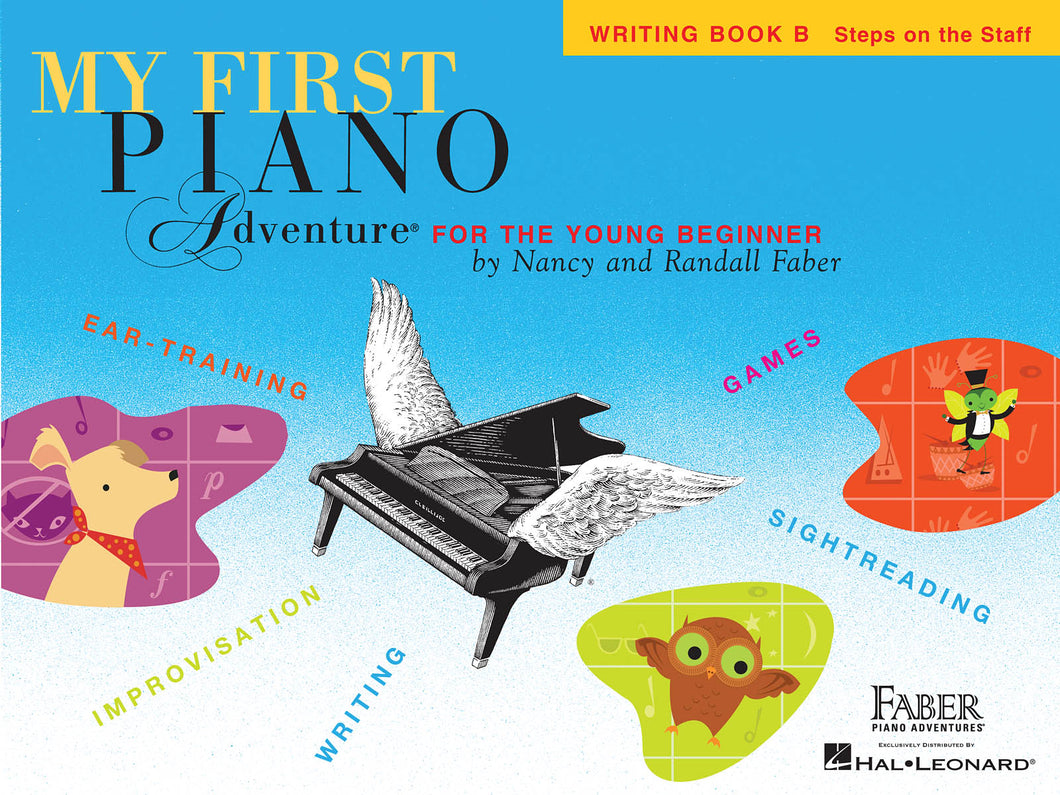 Faber My First Piano Adventure Writing Book B steps on staff