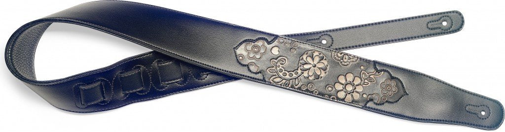 Stagg SPFL PSLY 1 BK Padded Leather Guitar Strap with Black Paisley Design