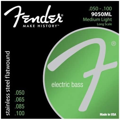 Fender 9050ML Stainless Steel Flatwound Long Scale Electric Bass Guitar Strings - Medium Light