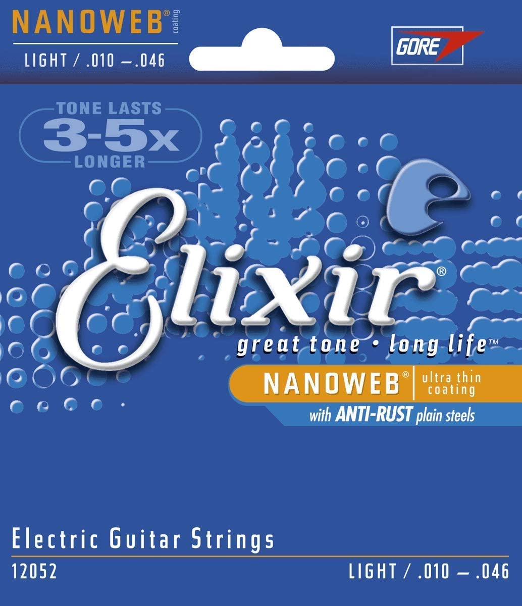 Elixir Strings Electric Guitar Strings w NANOWEB Coating, Light (.010-.046)