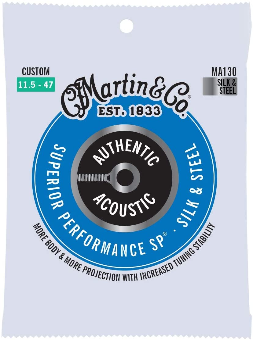 Martin Authentic Acoustic MA130 Custom-Gauge Acoustic Guitar Strings, Silk and Steel Folk