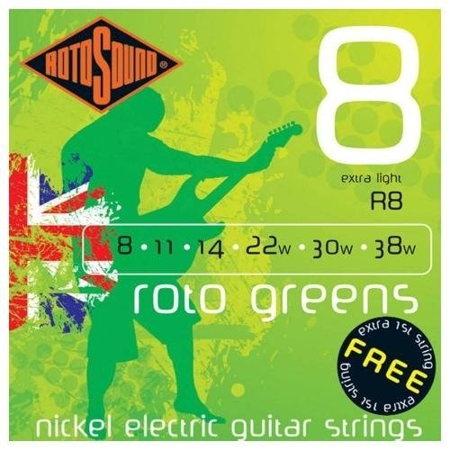Rotosound Electric Guitar Strings - Roto Greens, Extra Light 8s
