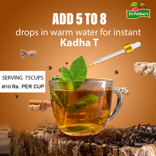 Kadha T concentrated drops containing essential herbs that prevent flu & cold