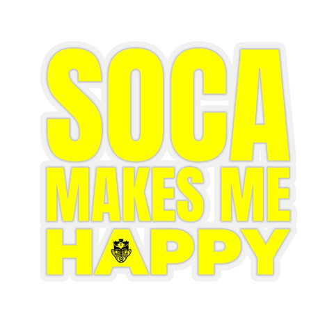 Soca Makes Me Happy Sticker (Yellow) - Trini Jungle Juice Store