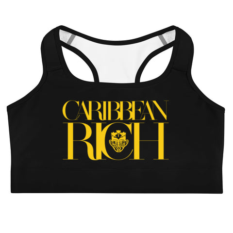 Caribbean Rich - Women's Sports Bra (Black w/ Gold Print)