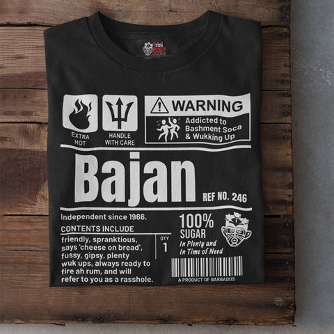 A Product of Barbados - Bajan Unisex T-Shirt (White Print)