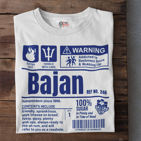 A Product of Barbados - Bajan Unisex T-Shirt (Blue Print)