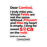 Letter to Carnival Sticker - Trini Jungle Juice Store