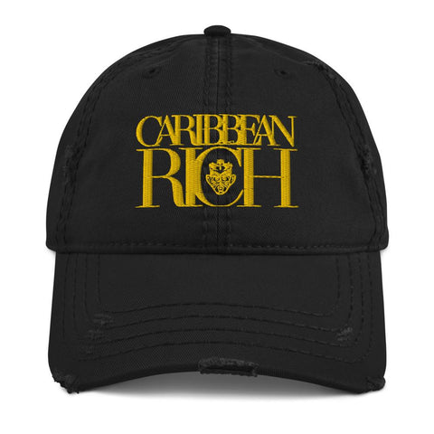 Caribbean Rich - Distressed Dad Hat (Gold Logo)
