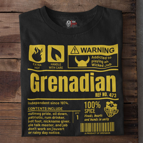 A Product of Grenada - Grenadian Unisex T-Shirt (Yellow Print)