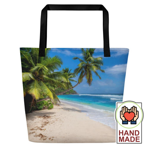 "Island Vibes - ""Life's A Beach"" Large Beach Bag - Trini Jungle Juice Store"