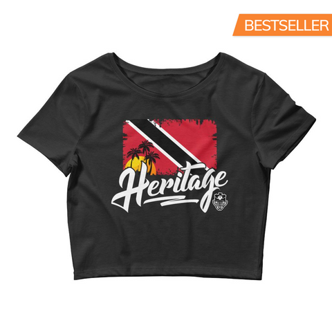 Heritage - Trinidad and Tobago Women's Crop Tee (Black) - Trini Jungle Juice Store