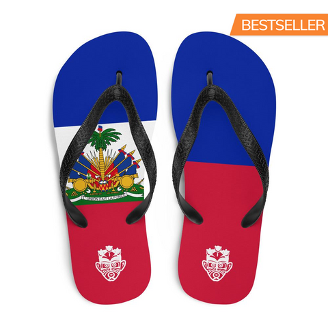 Island Flag - Haiti Flip Flops - Trini Jungle Juice Store