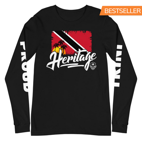 "Heritage - Trinidad and Tobago ""PROUD TRINI"" Unisex Long Sleeve Tee (Black) - Trini Jungle Juice Store"