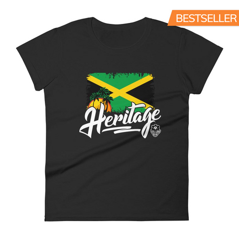 Heritage - Jamaica Women's Fashion Fit T-Shirt (Black) - Trini Jungle Juice Store
