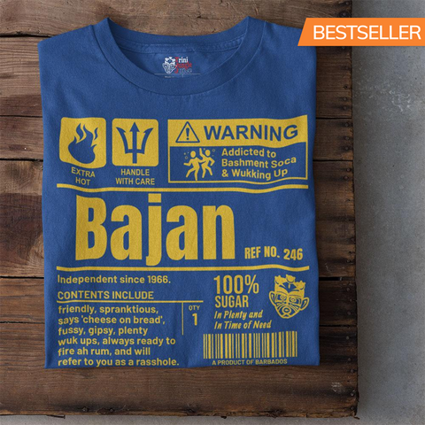 A Product of Barbados - Bajan Unisex T-Shirt (Yellow Print) - Trini Jungle Juice Store