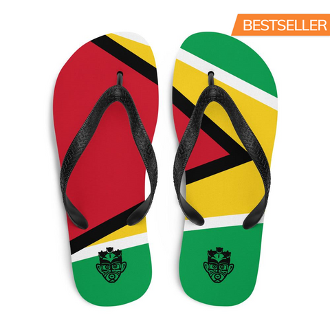 Island Flag - Guyana Flip Flops - Trini Jungle Juice Store