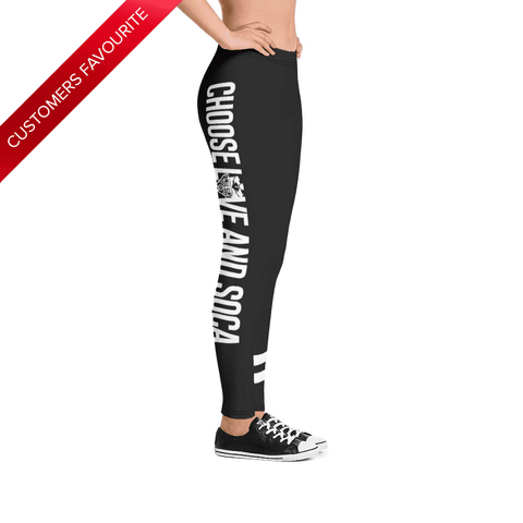 Choose LOVE and SOCA - Women's Leggings (Black) - Trini Jungle Juice Store