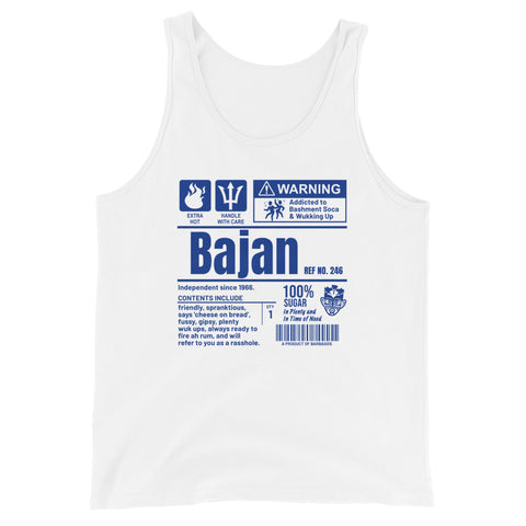 A Product of Barbados - Bajan Unisex Tank Top (Blue Print) - Trini Jungle Juice Store