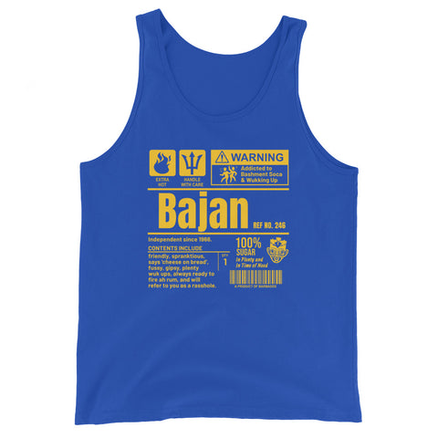 A Product of Barbados - Bajan Unisex Tank Top (Yellow Print)