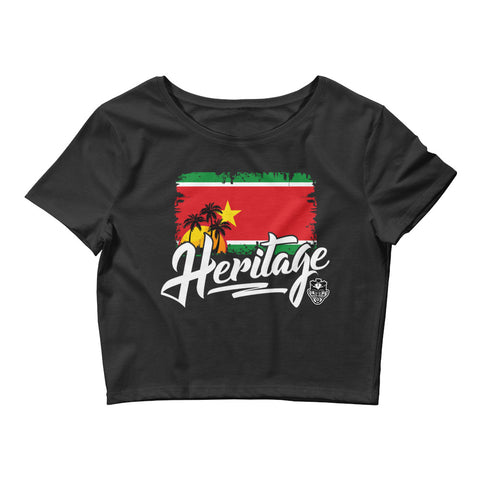Heritage - Guadeloupe Women's Crop Tee (Black) - Trini Jungle Juice Store