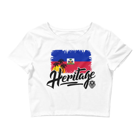 Heritage - Haiti Women's Crop Tee (White) - Trini Jungle Juice Store