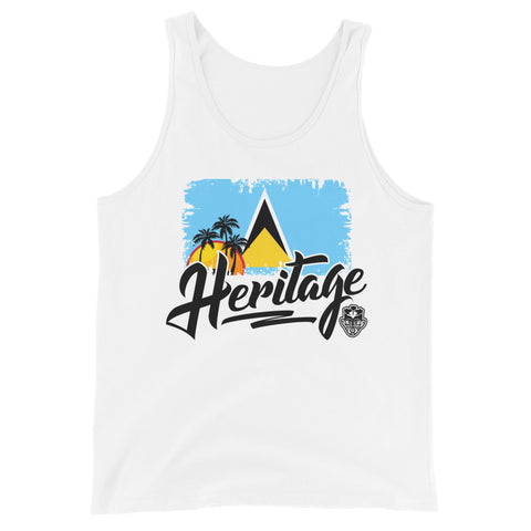 Heritage - St. Lucia Unisex Tank Top (White) - Trini Jungle Juice Store