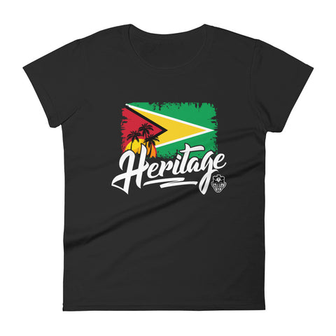 Heritage - Guyana Women's Fashion Fit T-Shirt (Black) - Trini Jungle Juice Store