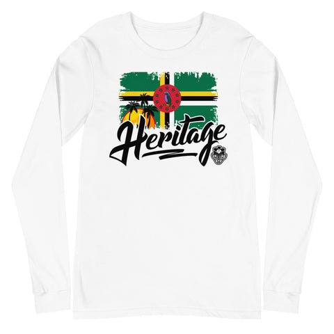 Heritage - Dominica Unisex Long Sleeve Tee (White) - Trini Jungle Juice Store