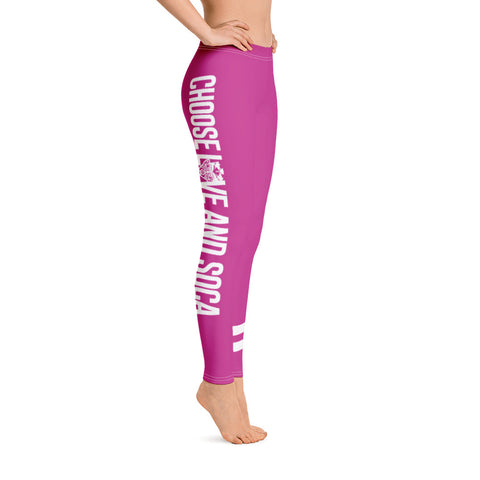 Choose LOVE and SOCA - Women's Leggings (Pink) - Trini Jungle Juice Store