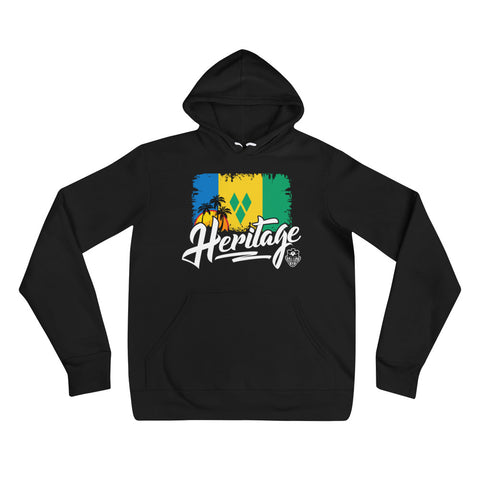 Heritage - St. Vincent and The Grenadines Unisex Pullover Hoodie (Black) - Trini Jungle Juice Store