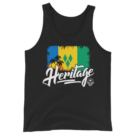 Heritage - St. Vincent and The Grenadines Unisex Tank Top (Black) - Trini Jungle Juice Store