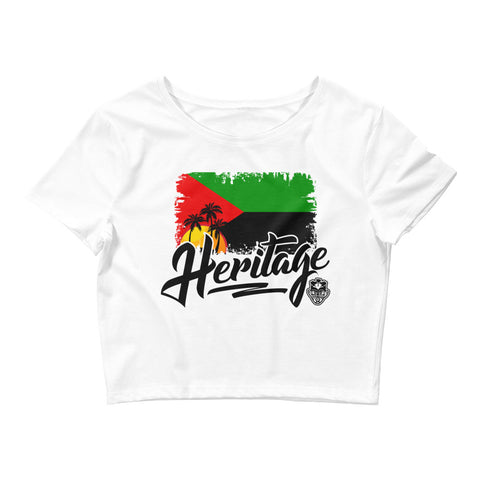 Heritage - Martinique Women's Crop Tee (White) - Trini Jungle Juice Store
