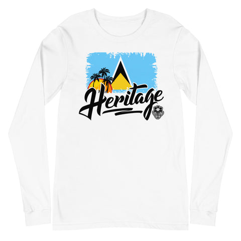 Heritage - St. Lucia Unisex Long Sleeve Tee (White) - Trini Jungle Juice Store