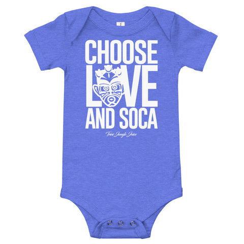 Choose LOVE and SOCA - Baby One Piece (White Print) - Trini Jungle Juice Store