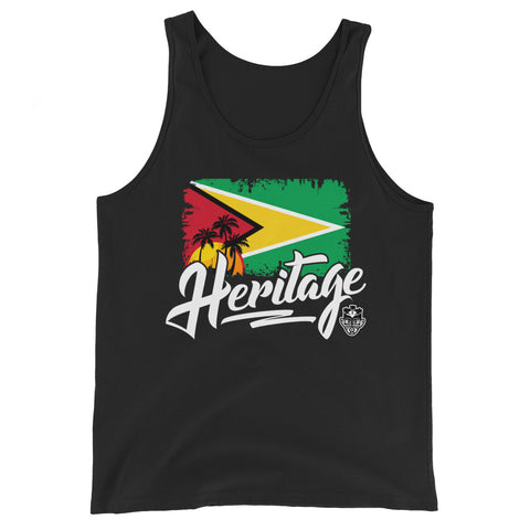 Heritage - Guyana Unisex Tank Top (Black) - Trini Jungle Juice Store