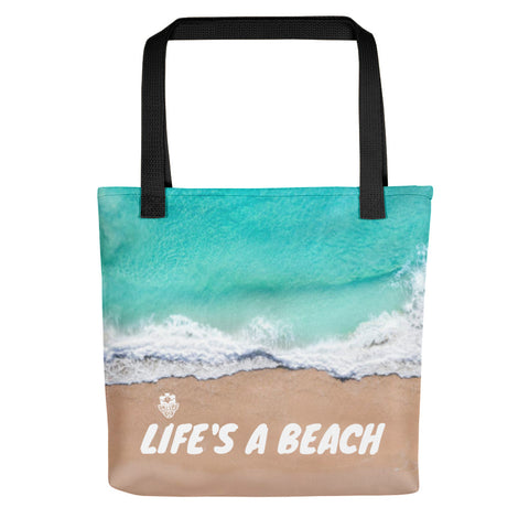 "Island Vibes - ""Life's A Beach"" Tote Bag - Trini Jungle Juice Store"